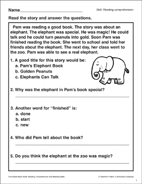 Pam's Elephant Book: Passage and Questions - Printable Worksheet