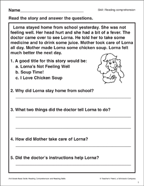 Lorna's Not Feeling Well: Passage and Questions - Printable Worksheet