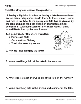 The Lake Near My House: Passage and Questions - Printable Worksheet