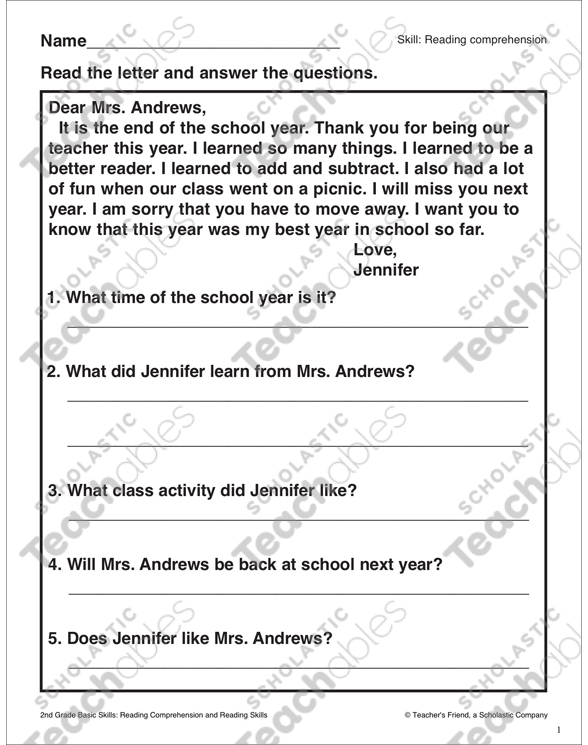 A Letter To Mrs. Andrews: Passage And Questions Printable Skills Sheets