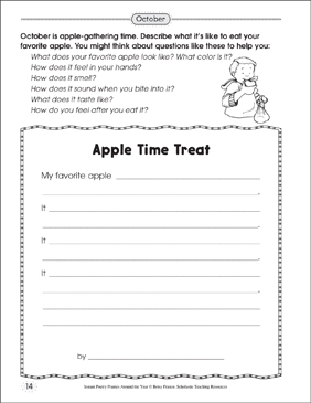 Apple Time Treat: Poetry Frame - Printable Worksheet
