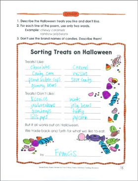 Sorting Treats on Halloween: Poetry Frame - Printable Worksheet