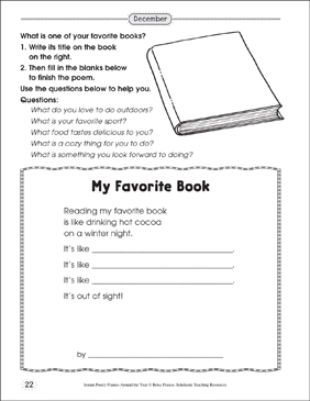 My Favorite Book: Poetry Frame - Printable Worksheet