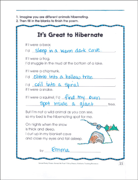 It's Great to Hibernate: Poetry Frame - Printable Worksheet