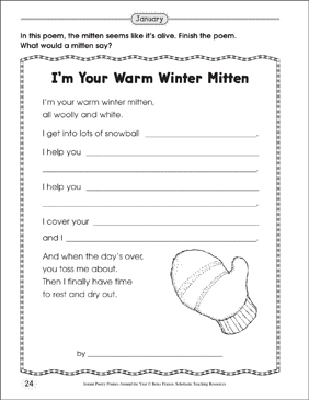 I'm Your Warm Winter Mitten: Poetry Frame - Printable Worksheet