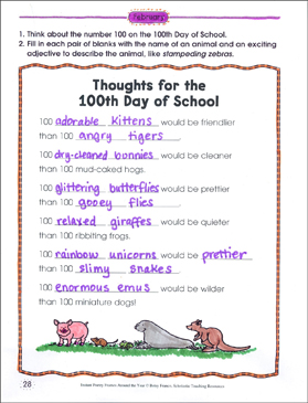 Thoughts for the 100th Day of School: Poetry Frame - Printable Worksheet