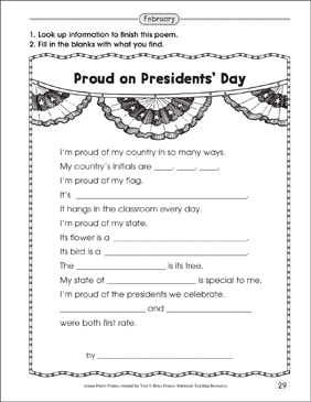 Proud on Presidents' Day: Poetry Frame - Printable Worksheet