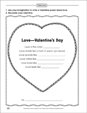 Love: Valentine's Day Poetry Frame - Printable Worksheet