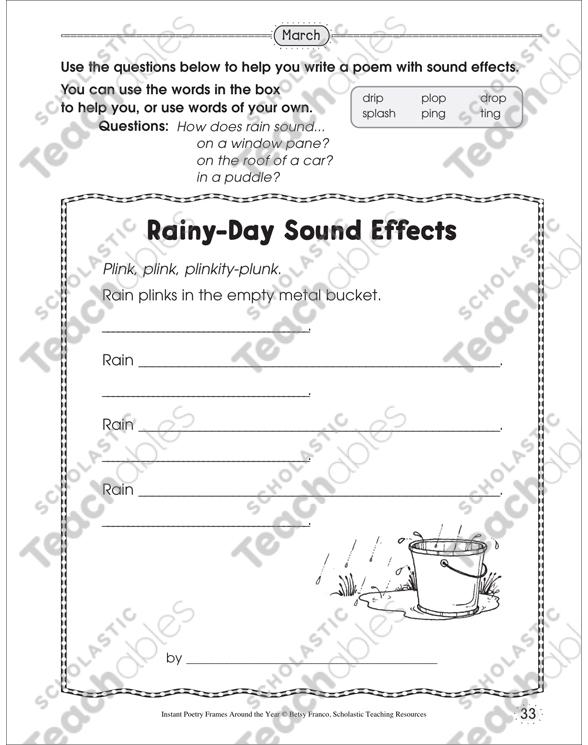 Rainy-Day Sound Effects: Poetry Frame | Printable Skills Sheets