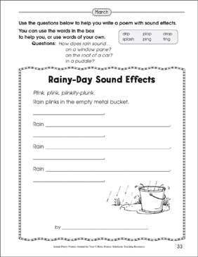 Rainy-Day Sound Effects: Poetry Frame - Printable Worksheet