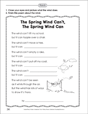 The Spring Wind Can't, The Spring Wind Can: Poetry Frame - Printable Worksheet