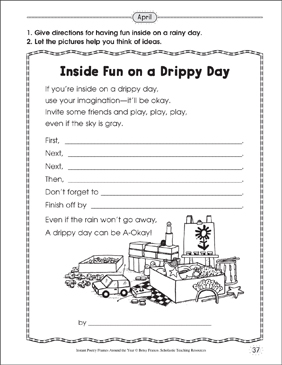 Inside Fun on a Drippy Day: Poetry Frame - Printable Worksheet