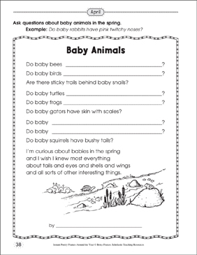 Baby Animals: Poetry Frame - Printable Worksheet