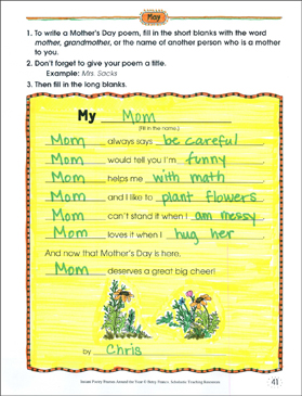 My _________: A Mother's Day Poetry Frame - Printable Worksheet