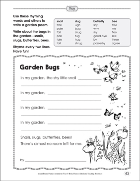 Garden Bugs: Poetry Frame - Printable Worksheet
