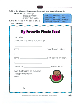 My Favorite Picnic Food: Poetry Frame - Printable Worksheet