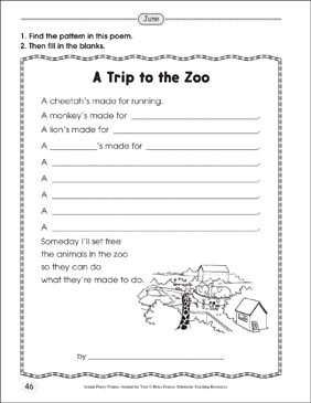 A Trip to the Zoo: Poetry Frame - Printable Worksheet