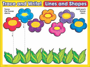 Fantastic Flowers (downward lines): Trace and Write Practice Page - Printable Worksheet