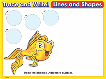 Fish Bubbles (circles): Trace and Write Practice Page - Printable Worksheet