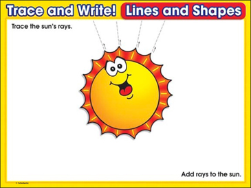 Here Comes the Sun! (lines): Trace and Write Practice Page - Printable Worksheet