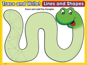 Snaking Along (triangles): Trace and Write Practice Page - Printable Worksheet