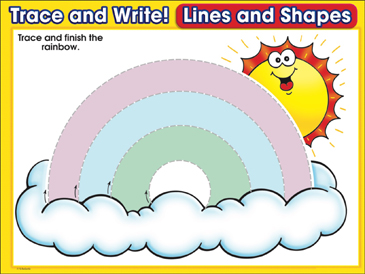 Over the Rainbow (curved lines): Trace and Write Practice Page - Printable Worksheet