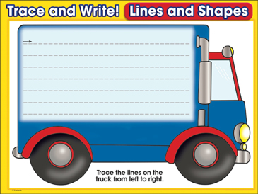 Terrific Truck (horizontal lines): Trace and Write Practice Page - Printable Worksheet