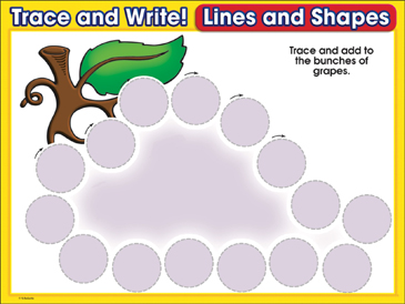Bunch of Grapes (circles): Trace and Write Practice Page - Printable Worksheet