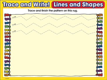 Pretty Patterns (zig-zag lines): Trace and Write Practice Page - Printable Worksheet