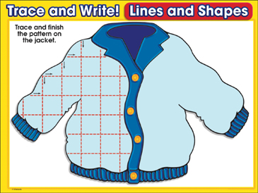 Jazzy Jacket (horizontal & vertical lines): Trace and Write Practice Page - Printable Worksheet