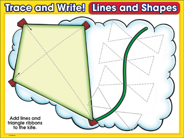 Go Fly a Kite (trianges): Trace and Write Practice Page - Printable Worksheet