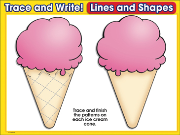 How Many Scoops? (criss-cross pattern): Trace and Write Practice Page - Printable Worksheet