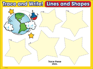 Shining Stars (stars): Trace and Write Practice Page - Printable Worksheet
