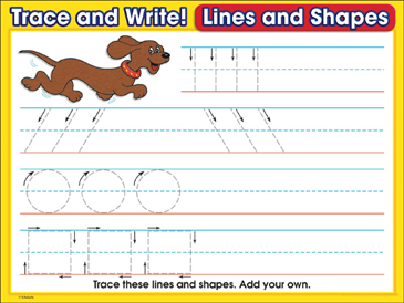 Dog Days (lines & shapes): Trace and Write Practice Page - Printable Worksheet