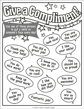 Give a Compliment! Chart - Printable Worksheet