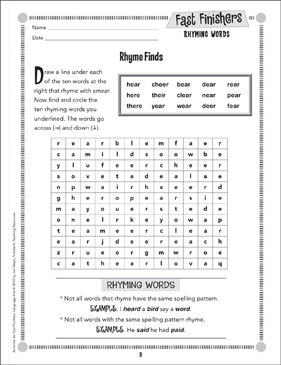 Rhyme Finds (Rhyming Words) - Printable Worksheet