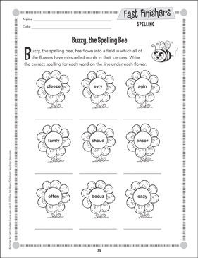 Buzzy, the Spelling Bee (Spelling) - Printable Worksheet
