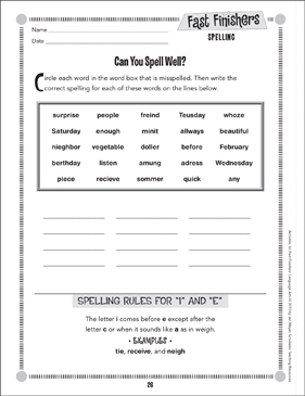 Can You Spell Well? (Spelling) - Printable Worksheet