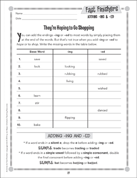 They're Hoping to Go Shopping (Adding -ing & -ed) - Printable Worksheet