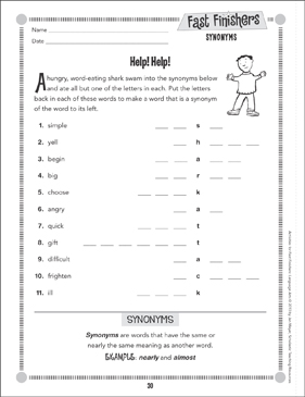 Help! Help! (Synonyms) - Printable Worksheet