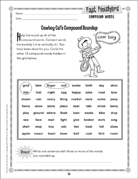 Cowboy Cat's Compound Roundup (Compound Words) - Printable Worksheet