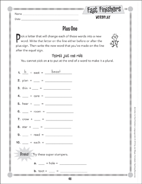 Plus One (Wordplay) - Printable Worksheet