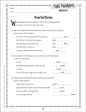 Three Sad Stories (Wordplay) - Printable Worksheet