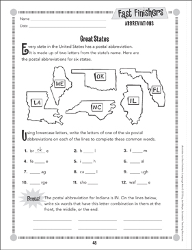 Great States (Abbreviations) - Printable Worksheet