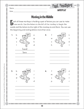 Monkey In the Middle (Wordplay) - Printable Worksheet