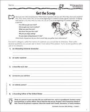 Get the Scoop (Writing Questions for Interviews) - Printable Worksheet