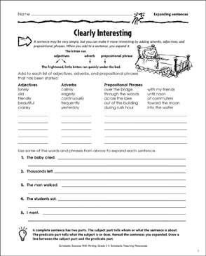 Clearly Interesting (Expanding Sentences) - Printable Worksheet