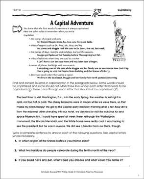 Capital Adventure (Capitalizing) - Printable Worksheet