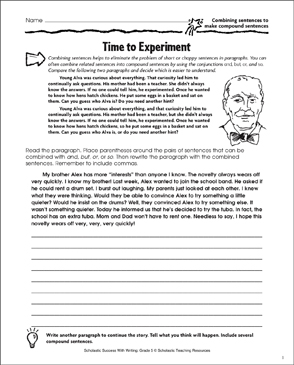 Time to Experiment (Combining Sentences to Make Compound Sentences) - Printable Worksheet