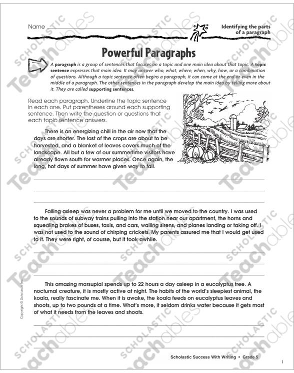 5 parts of a paragraph
